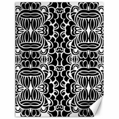 Psychedelic Pattern Flower Black Canvas 12  X 16