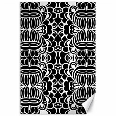 Psychedelic Pattern Flower Black Canvas 24  X 36