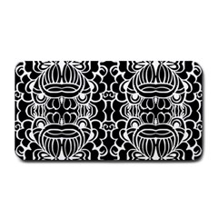 Psychedelic Pattern Flower Black Medium Bar Mats