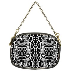 Psychedelic Pattern Flower Black Chain Purses (two Sides)