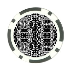 Psychedelic Pattern Flower Black Poker Chip Card Guard (10 Pack)