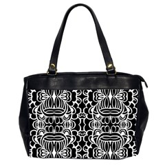 Psychedelic Pattern Flower Black Office Handbags (2 Sides)