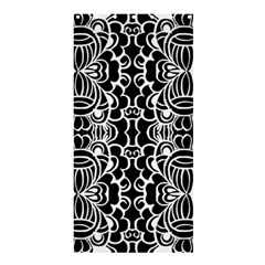 Psychedelic Pattern Flower Black Shower Curtain 36  X 72  (stall)