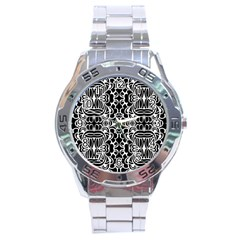Psychedelic Pattern Flower Black Stainless Steel Analogue Watch