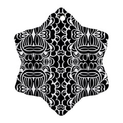 Psychedelic Pattern Flower Black Ornament (snowflake)