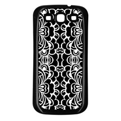 Psychedelic Pattern Flower Black Samsung Galaxy S3 Back Case (black)