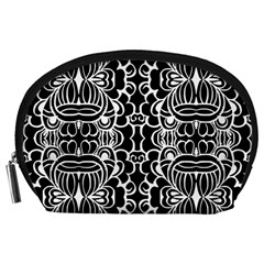 Psychedelic Pattern Flower Black Accessory Pouches (large)