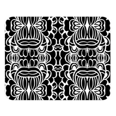 Psychedelic Pattern Flower Black Double Sided Flano Blanket (large)