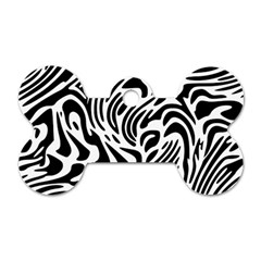 Psychedelic Zebra Black White Line Dog Tag Bone (one Side)