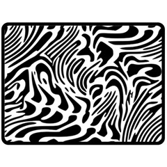 Psychedelic Zebra Black White Line Fleece Blanket (large)