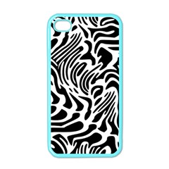 Psychedelic Zebra Black White Line Apple Iphone 4 Case (color)