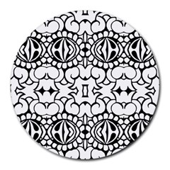 Psychedelic Pattern Flower Crown Black Flower Round Mousepads