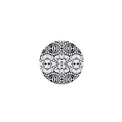 Psychedelic Pattern Flower Crown Black Flower 1  Mini Buttons