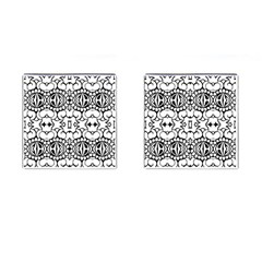 Psychedelic Pattern Flower Crown Black Flower Cufflinks (square)