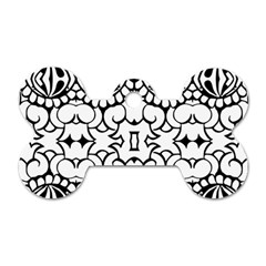 Psychedelic Pattern Flower Crown Black Flower Dog Tag Bone (one Side)