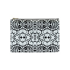 Psychedelic Pattern Flower Crown Black Flower Cosmetic Bag (medium)