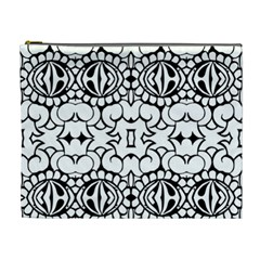 Psychedelic Pattern Flower Crown Black Flower Cosmetic Bag (xl)