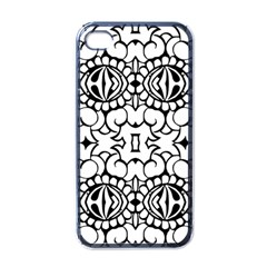 Psychedelic Pattern Flower Crown Black Flower Apple Iphone 4 Case (black)