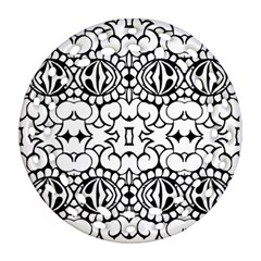 Psychedelic Pattern Flower Crown Black Flower Round Filigree Ornament (two Sides)