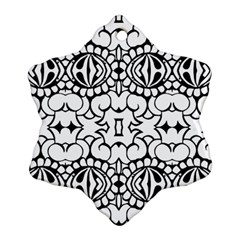 Psychedelic Pattern Flower Crown Black Flower Snowflake Ornament (two Sides)