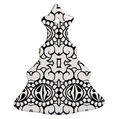 Psychedelic Pattern Flower Crown Black Flower Christmas Tree Ornament (two Sides)