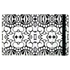 Psychedelic Pattern Flower Crown Black Flower Apple Ipad 2 Flip Case