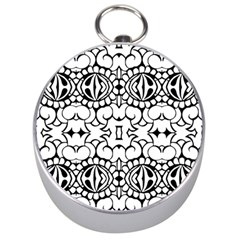Psychedelic Pattern Flower Crown Black Flower Silver Compasses