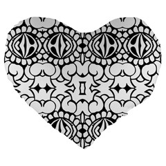 Psychedelic Pattern Flower Crown Black Flower Large 19  Premium Flano Heart Shape Cushions
