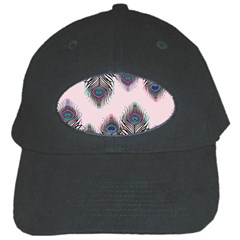 Peacock Feather Pattern Pink Love Heart Black Cap