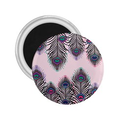 Peacock Feather Pattern Pink Love Heart 2 25  Magnets