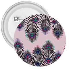 Peacock Feather Pattern Pink Love Heart 3  Buttons