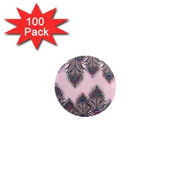 Peacock Feather Pattern Pink Love Heart 1  Mini Magnets (100 Pack)