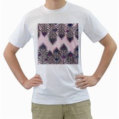 Peacock Feather Pattern Pink Love Heart Men s T Shirt (white) (two Sided)
