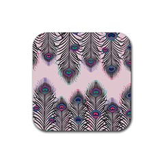 Peacock Feather Pattern Pink Love Heart Rubber Coaster (square)