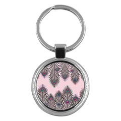 Peacock Feather Pattern Pink Love Heart Key Chains (round)