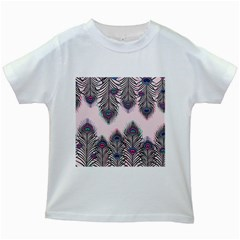 Peacock Feather Pattern Pink Love Heart Kids White T Shirts