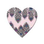 Peacock Feather Pattern Pink Love Heart Heart Magnet Front