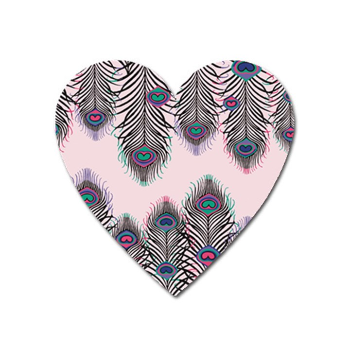 Peacock Feather Pattern Pink Love Heart Heart Magnet