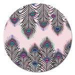 Peacock Feather Pattern Pink Love Heart Magnet 5  (Round) Front