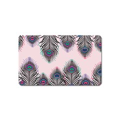 Peacock Feather Pattern Pink Love Heart Magnet (name Card)