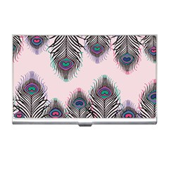 Peacock Feather Pattern Pink Love Heart Business Card Holders
