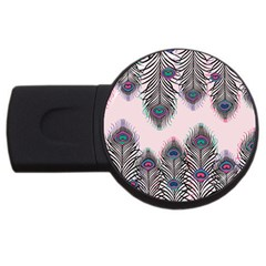 Peacock Feather Pattern Pink Love Heart Usb Flash Drive Round (2 Gb)