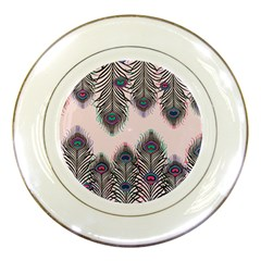Peacock Feather Pattern Pink Love Heart Porcelain Plates