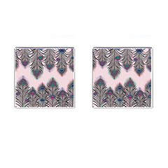 Peacock Feather Pattern Pink Love Heart Cufflinks (square)