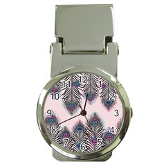 Peacock Feather Pattern Pink Love Heart Money Clip Watches