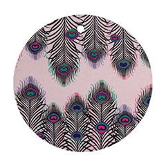 Peacock Feather Pattern Pink Love Heart Round Ornament (two Sides)