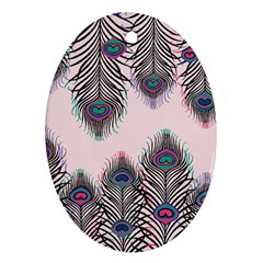 Peacock Feather Pattern Pink Love Heart Oval Ornament (two Sides)