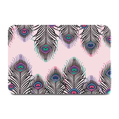 Peacock Feather Pattern Pink Love Heart Plate Mats