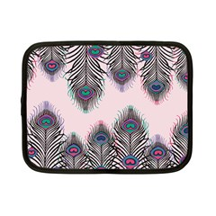 Peacock Feather Pattern Pink Love Heart Netbook Case (small)