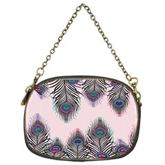 Peacock Feather Pattern Pink Love Heart Chain Purses (two Sides)